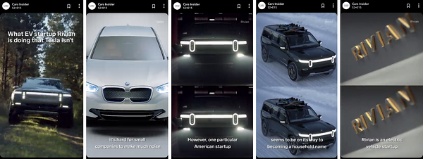 Rivian Snapchat Discover Story on Car Insider Channel