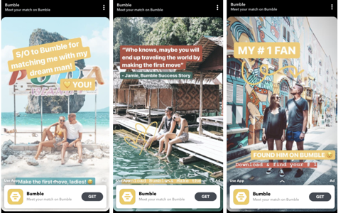 Bumble Story-Based Ad on Snapchat Discover