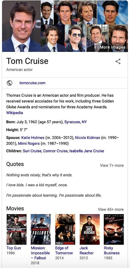 Tom Cruise knowledge graph card on Google.