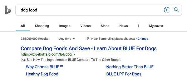 Bing Search with dog food ad matching search keywords