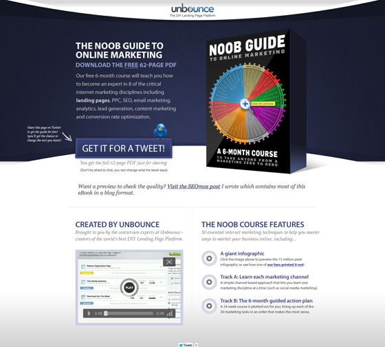 Unbounce landing page asks users to tweet about a product in exchange for a content offer.
