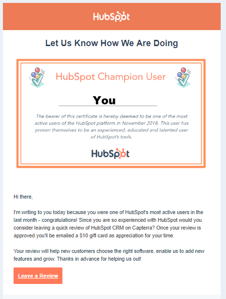 HubSpot's templated email asking customers to leave a review.
