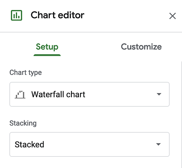 Waterfall chart editor in Excel.