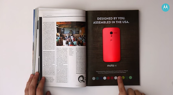 Interactive print ad by Motorola and Wired Magazine that changes the smartphone's color on the page.