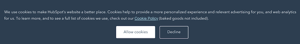 A banner that asks users for permission to use cookies.