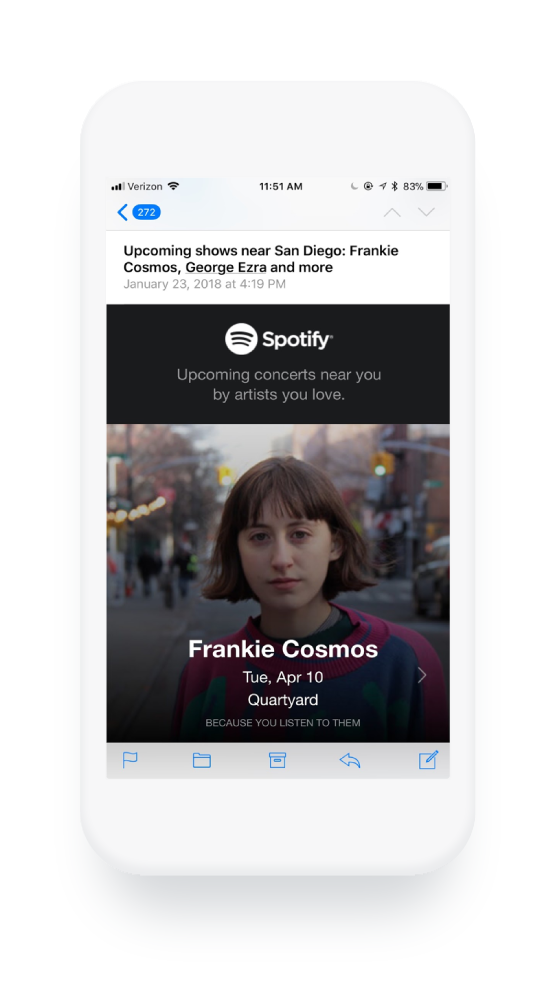 Spotify sends helpful content to their email subscribers.