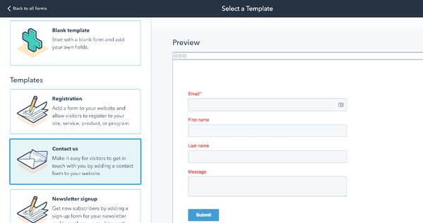 HubSpot's drag and drop online form builder for lead generation