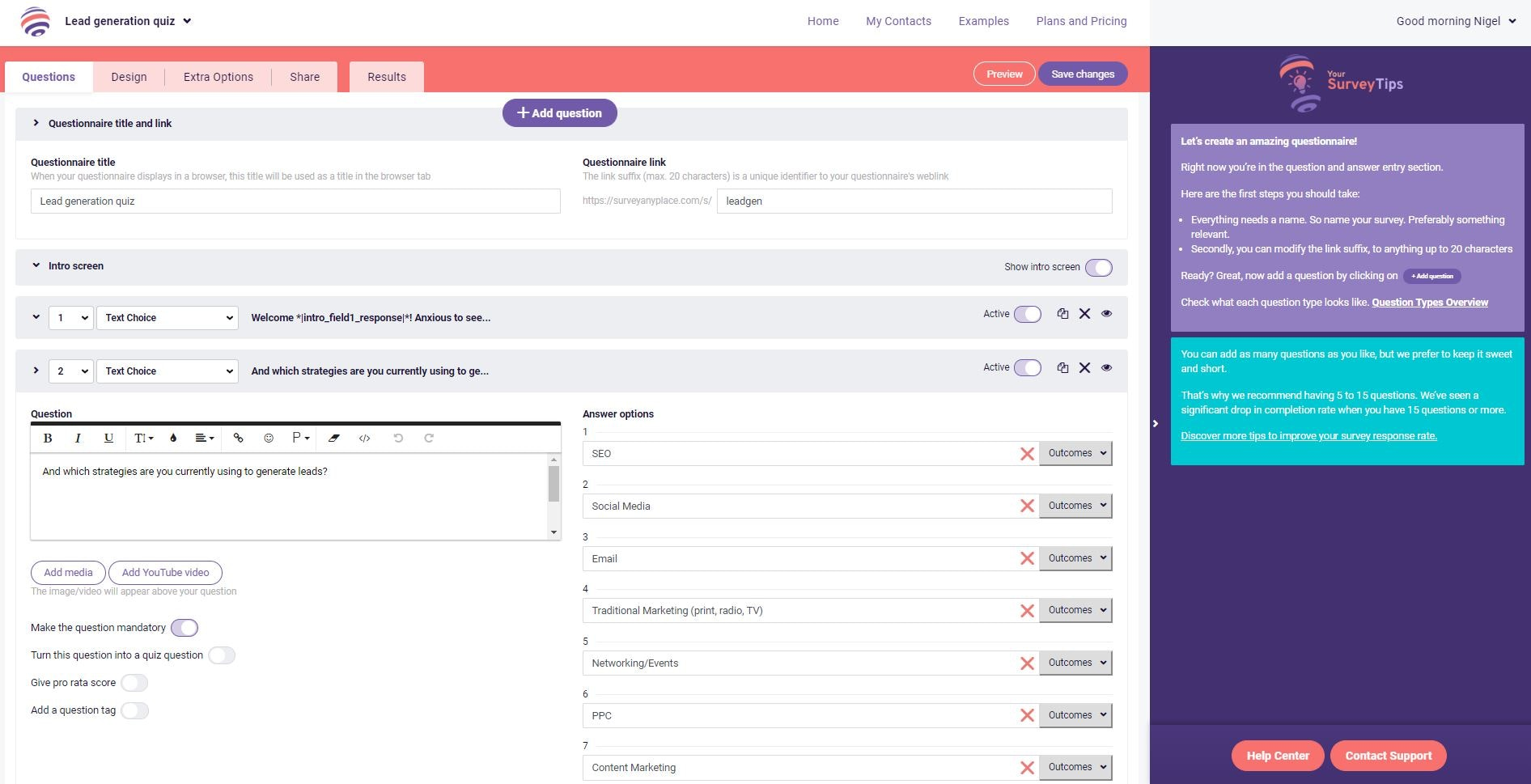 Survey AnyPlace form tool