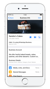 WhatsApp for Business profile