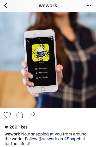 Instagram caption by WeWork promoting Snapchat account