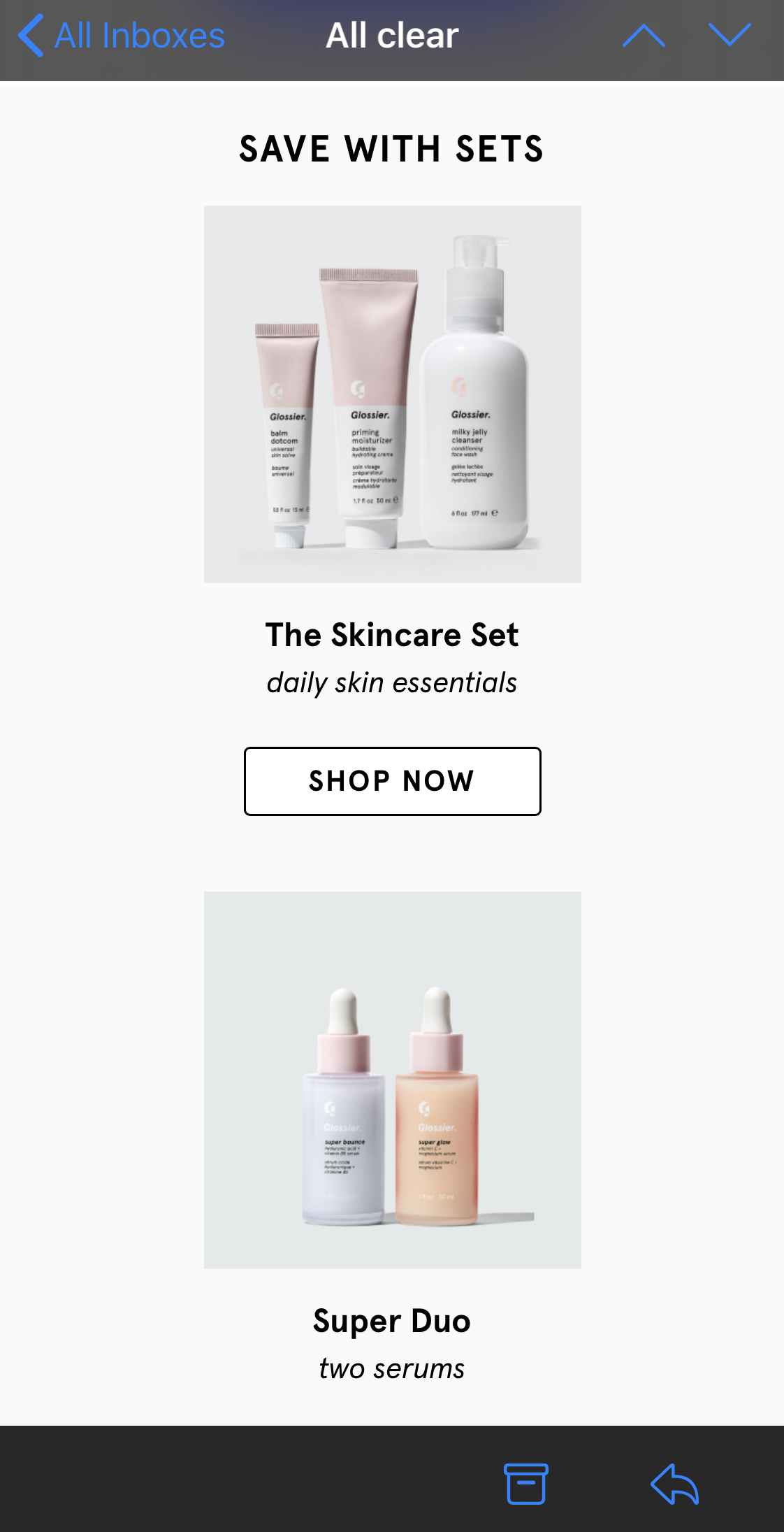 Glossier responsive email Mobile