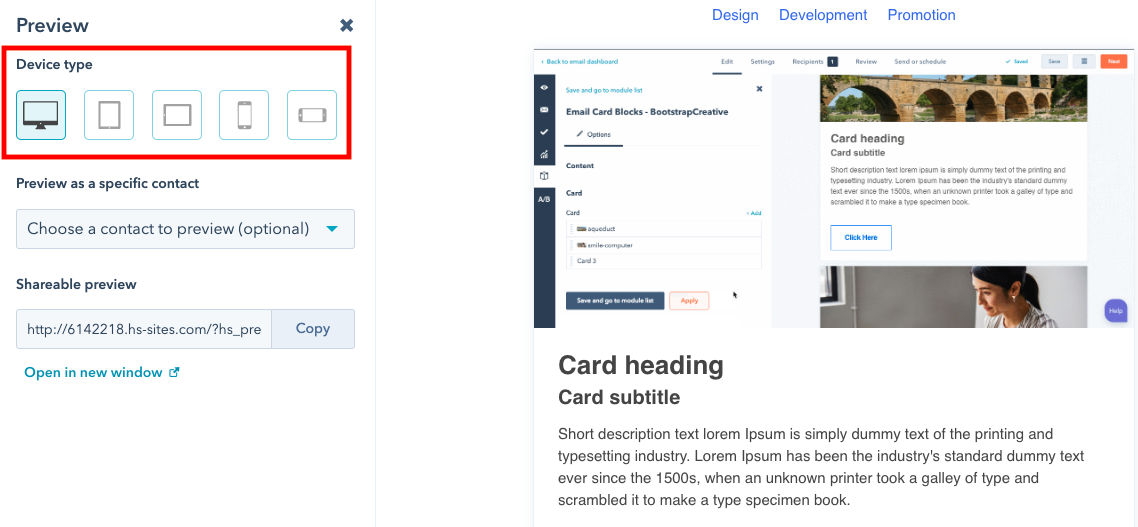 HubSpot responsive email preview