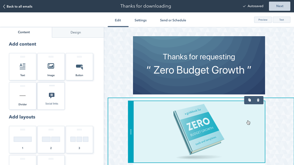 hubspot-marketing-email-drag and drop layout