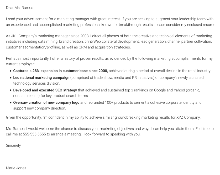 Marketing-specific cover letter template
