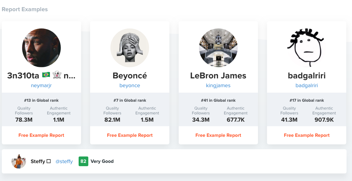 Example of HypeAuditor's dashboard