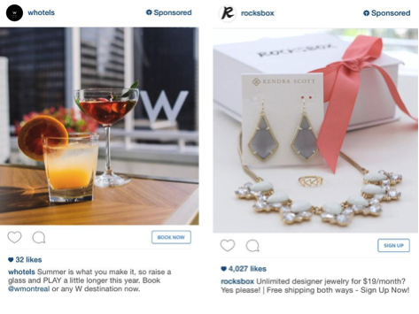 Examples of Instagram ads.