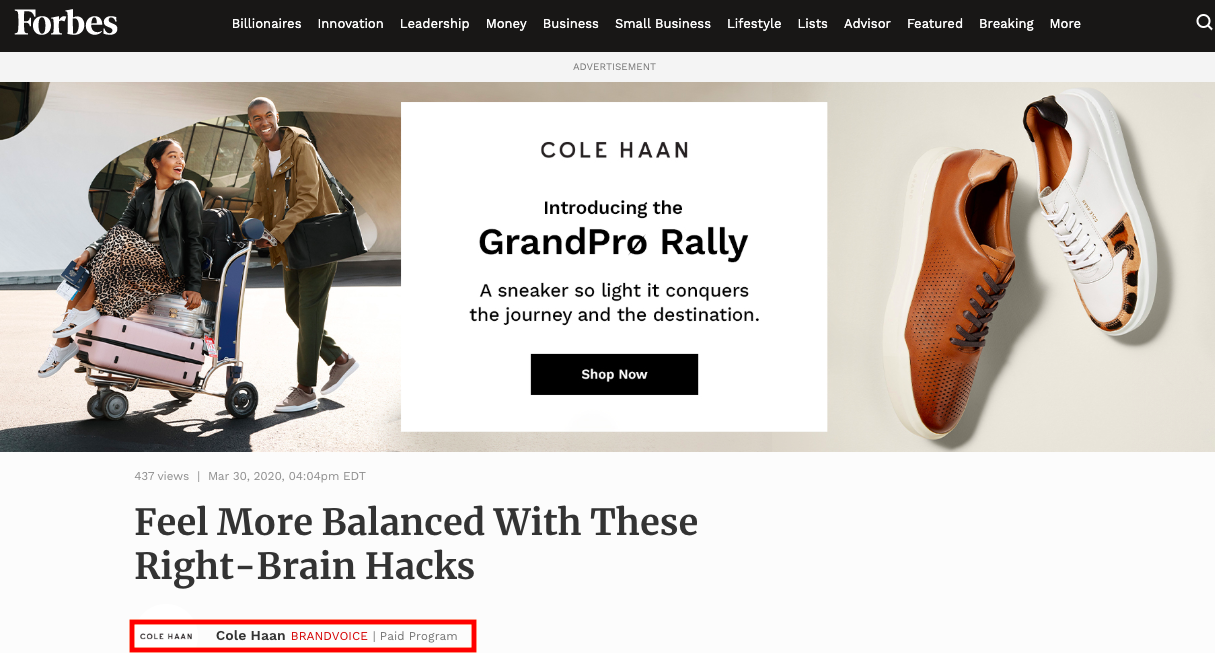Cole Haan Advertorial Forbes