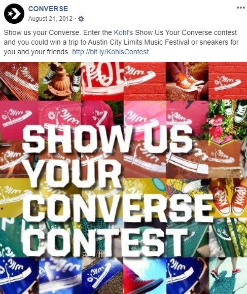 Converse's product demonstration contest on Facebook
