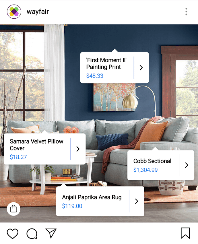 Digital marketing campaign by Wayfair using Instagram shopping tags in a photo of living room furnishings
