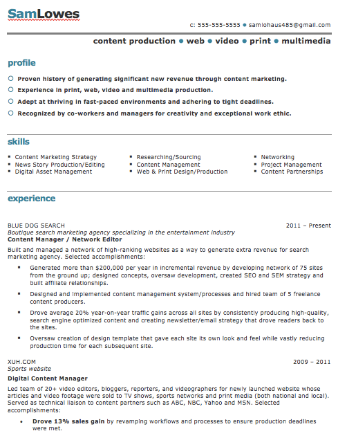 Content production resume template