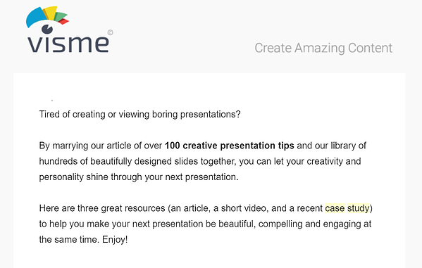 Consideration stage email example by Visme.