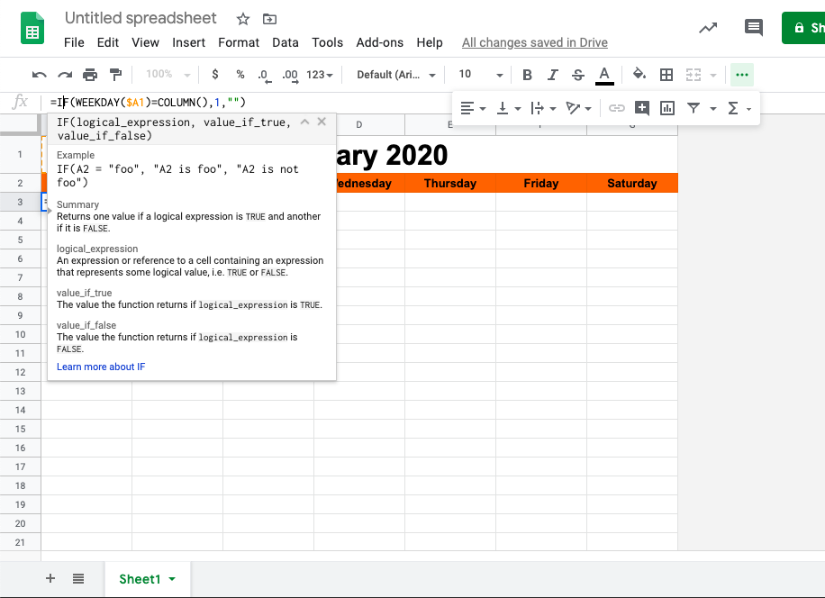 The formula for weekday numbers in Google Sheets.