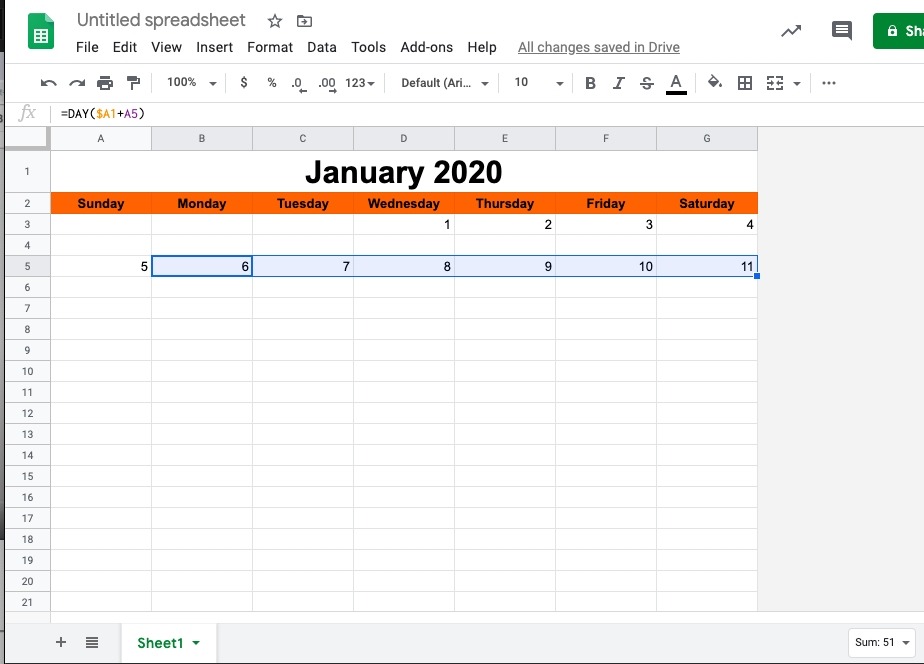 The numbers of days in Google Sheets Calendars