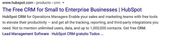 HubSpot's compelling page title for CRM.