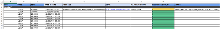social network update tab within content calendar template
