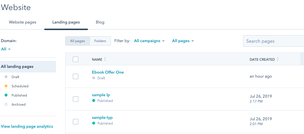 How to locate an offer within the HubSpot dashboard.