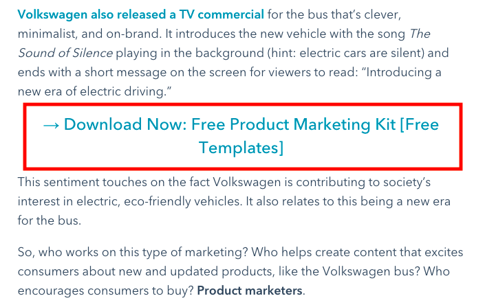 Example of putting a CTA for a landing page in a blog post.