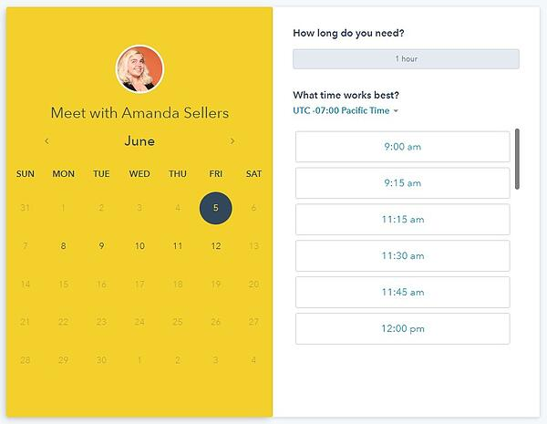 screenshot of hubspot meetings tool calendar picker