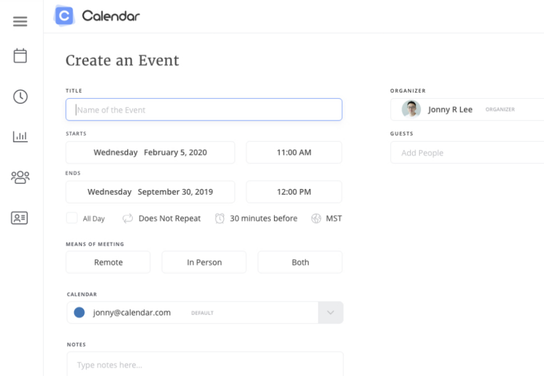 Event page creation on Calendar website