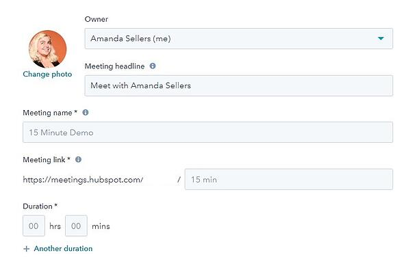 screenshot of meetings tool to add meeting details in hubspot