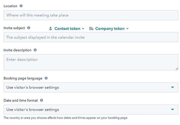 screenshot of meetings tool to configure meeting in hubspot
