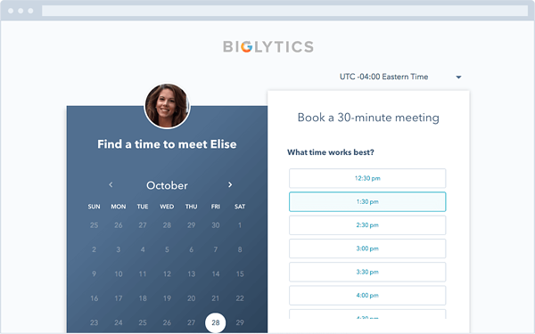 HubSpot Meeting Scheduling App and Website interface