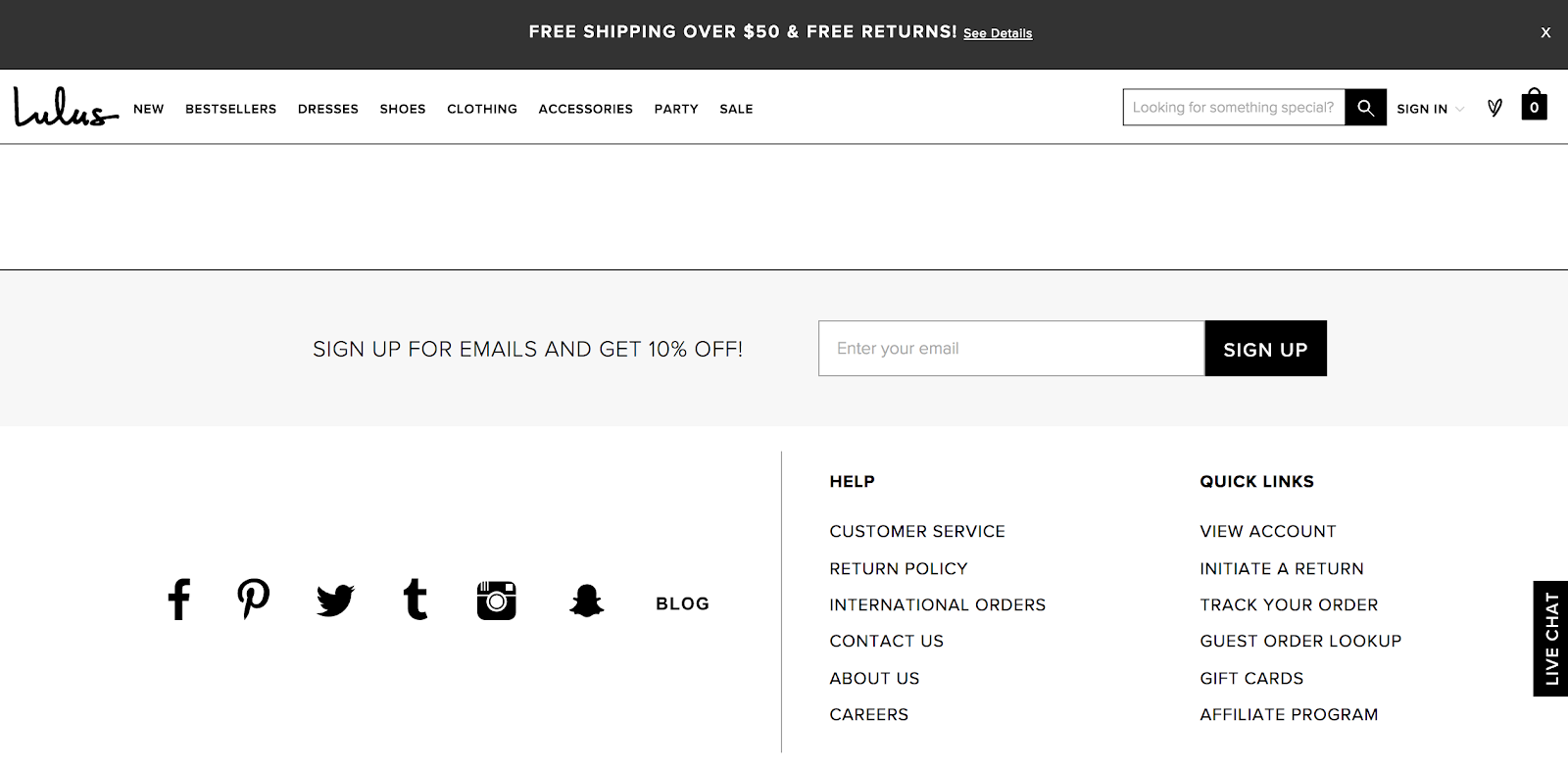 lulus sign up form at the bottom of the homepage above the footer