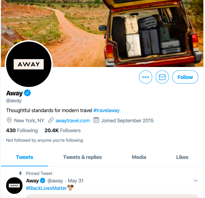 twitter ecommerce marketing strategy featuring away's eye-catching profile
