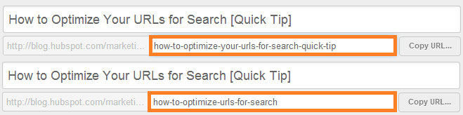 """url slug that reads """"how-to-optimize-your-urls-for-search-quick-tip"""" vs. a better example that reads """"how-to-optimize-urls-for-search"""""""