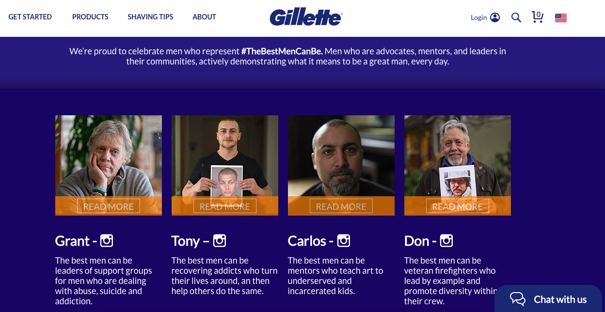 """Gillette's """"The Best Men Can Be"""" landing page"""