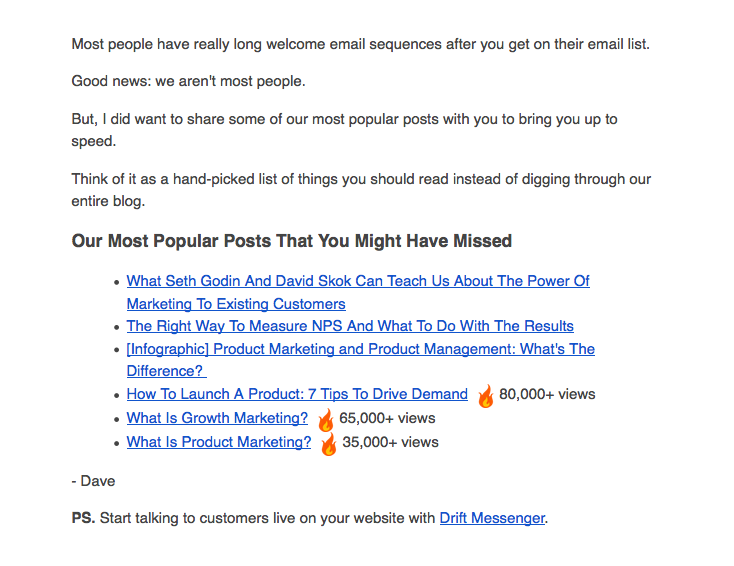 Drift welcome email with link to get started