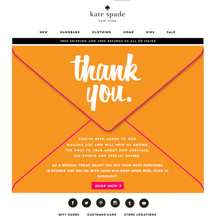 Kate Spade welcome email with orange envelope graphic saying thank you