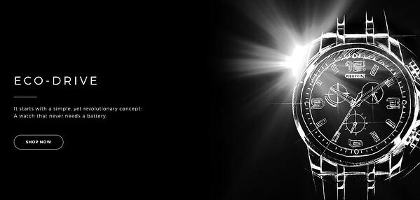 """Eco-Drive ad that reads """"A watch that never needs a battery"""" alongside an image of a watch"""