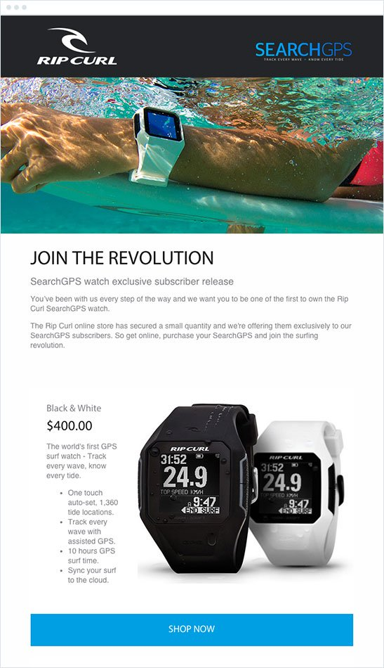 """ripcurl email that reads """"join the revolution - searchgps watch exclusive subscriber release"""" underneath a banner of a watch under water"""