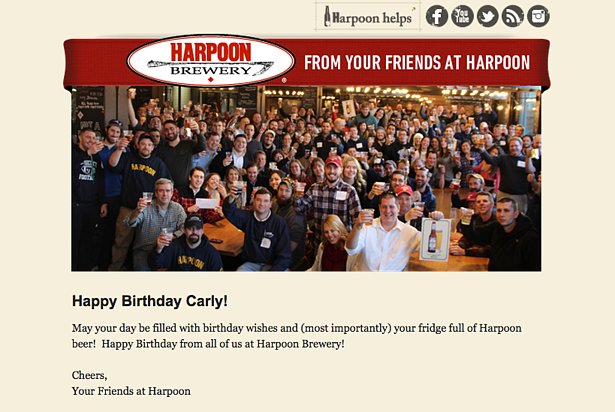 """harpoon brewery email with a photo of the staff that reads """"happy birthday carly from your friends at harpoon"""""""