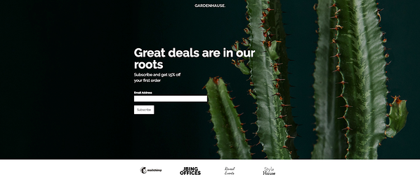Gardenhouse Landing Page from MailChimp
