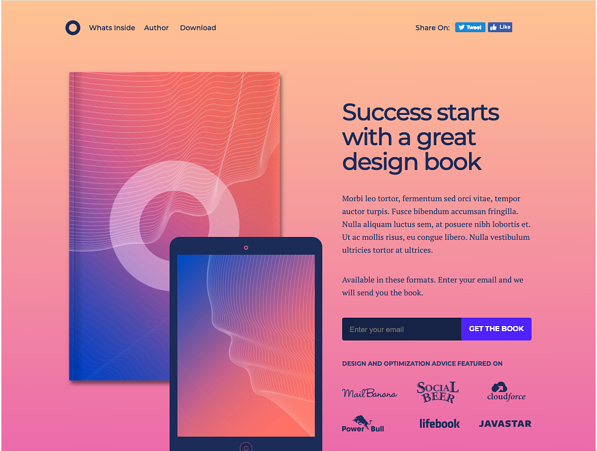 O-Book Landing Page from Unbounce