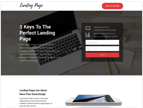 Landing Form Landing Page Template from Hubspot