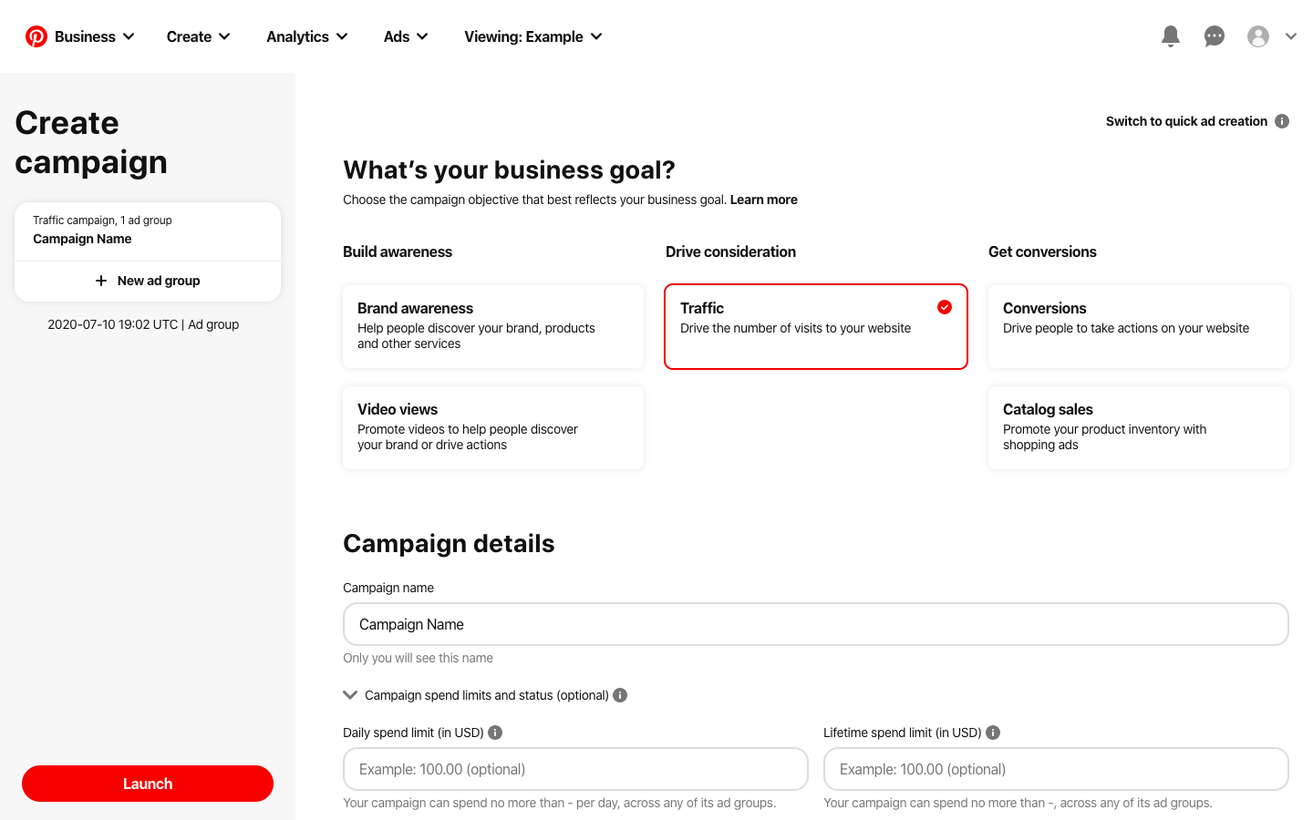 create an ad campaign in pinterest
