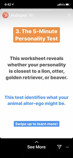 Example of reforming content into an Instagram story.